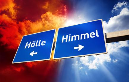 Himmel oder Hölle Wegweiser Schild mit Text