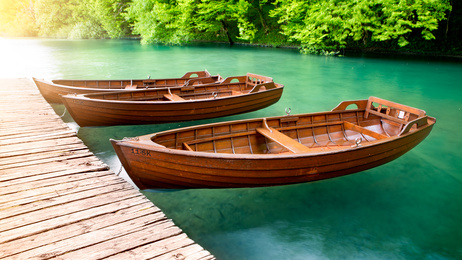 Wooden Boats, Plitvice Lakes in Croatia