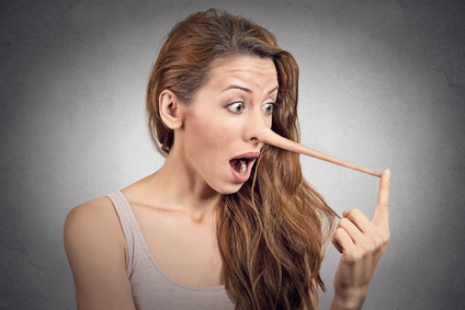 Liar surprised woman with long nose