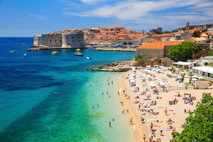 Old town and the beach, Dubrovnik Croatia