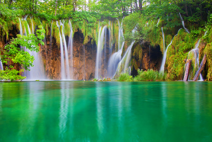 Beautiful waterfalls at Plitvice Lakes National Park