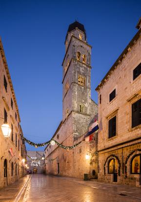 View of Stradun street in old Dubrovnik. Croatia.